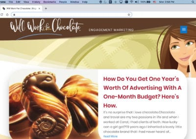 Will Work for Chocolate Website Articles Page